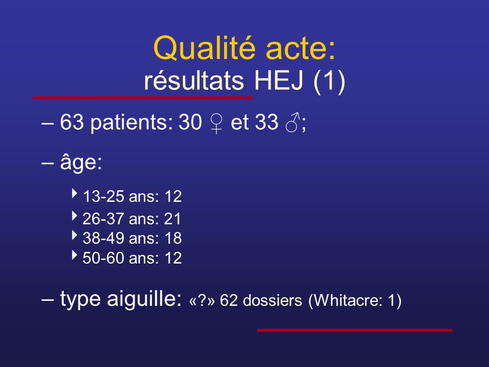 Qualité acte: résultats HEJ (1)
