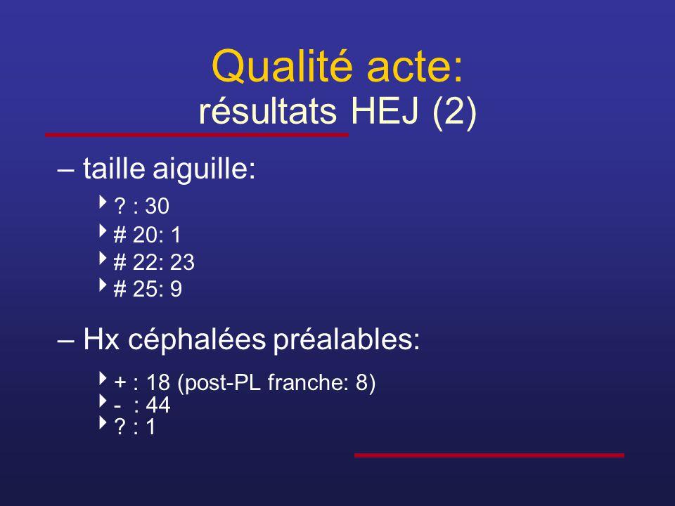 Qualité acte: résultats HEJ (2)