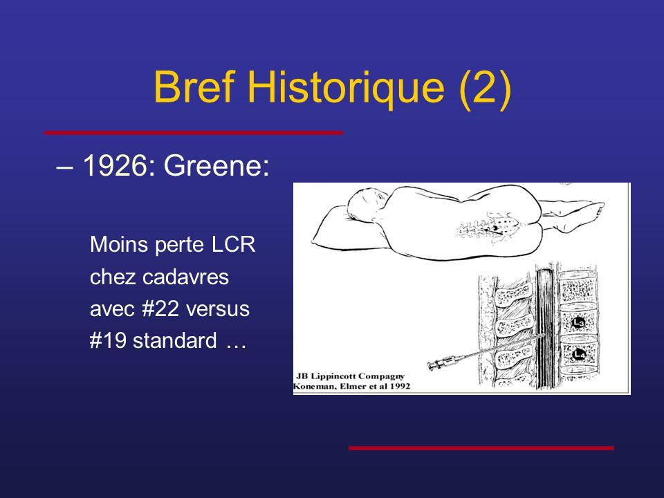 Bref Historique (2) 1926: Greene: Moins perte LCR chez cadavres