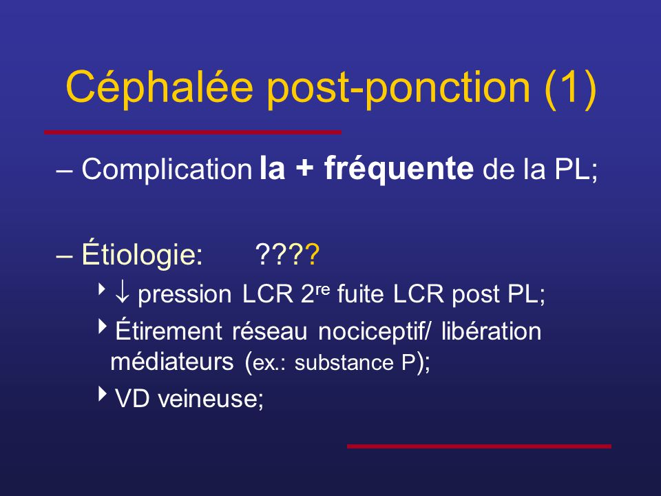 Céphalée post-ponction (1)