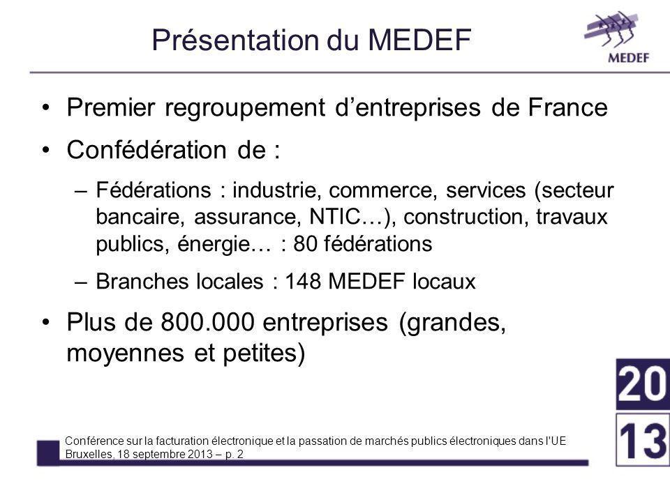 Présentation du MEDEF Premier regroupement d'entreprises de France