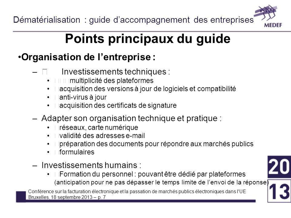 Points principaux du guide