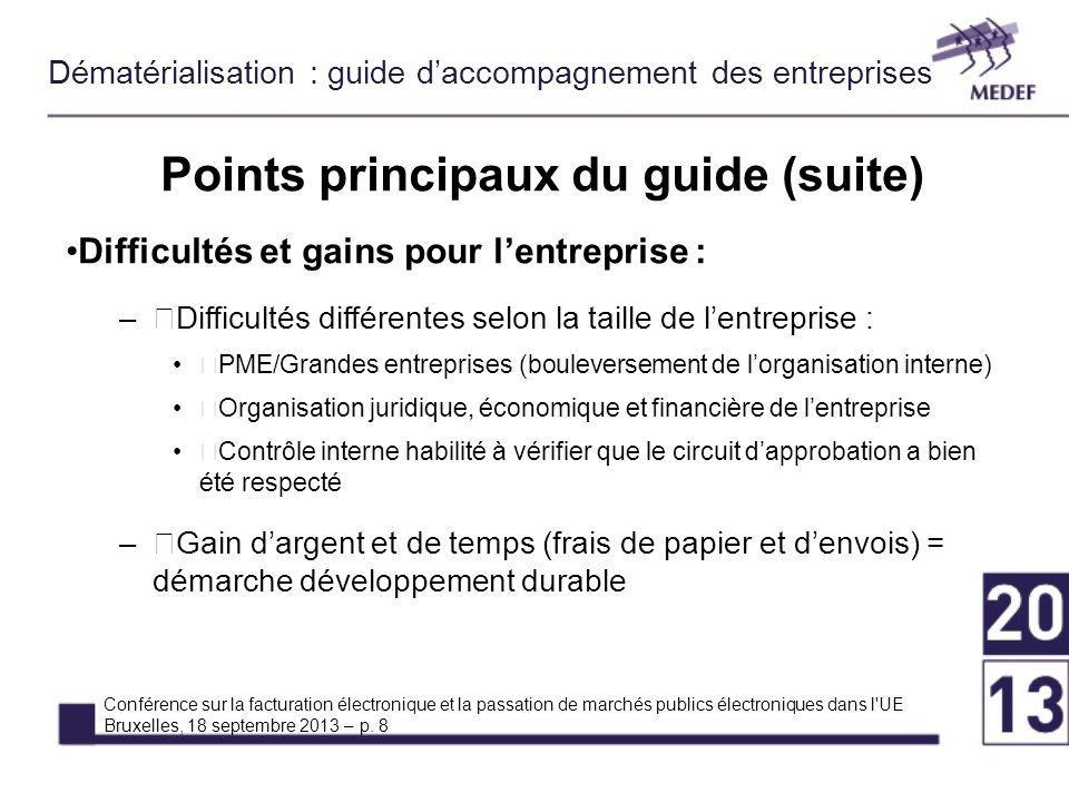 Points principaux du guide (suite)