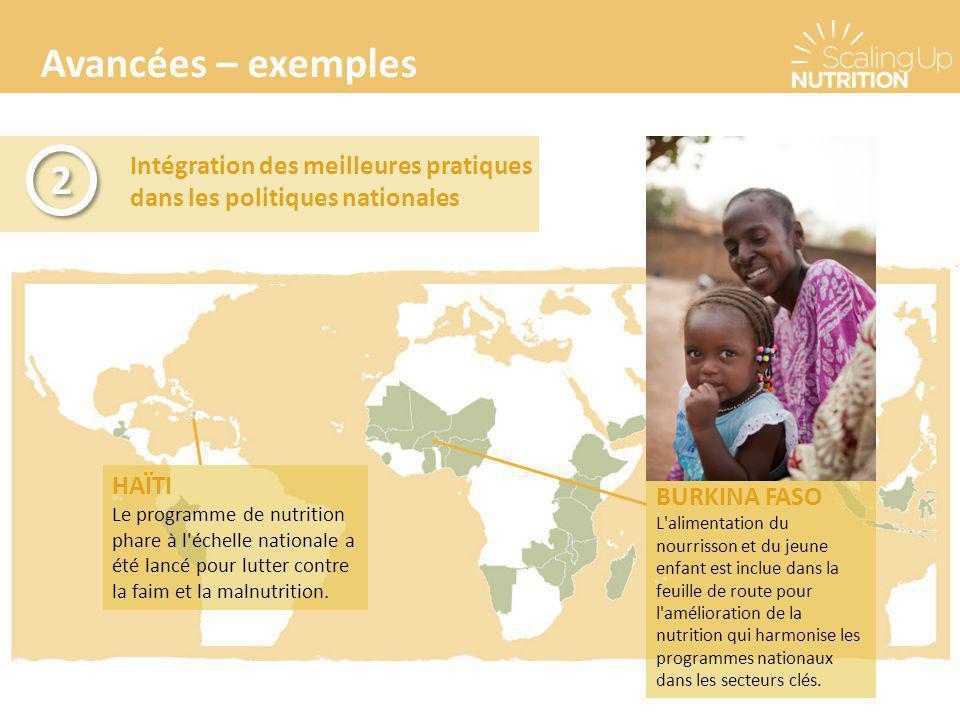 Avancées – exemples 2. Intégration des meilleures pratiques dans les politiques nationales. HAÏTI.