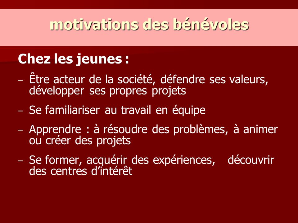 motivations des bénévoles