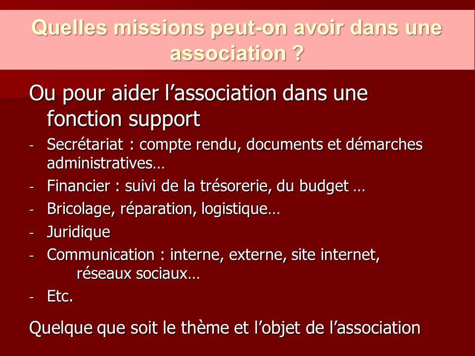 Quelles missions peut-on avoir dans une association