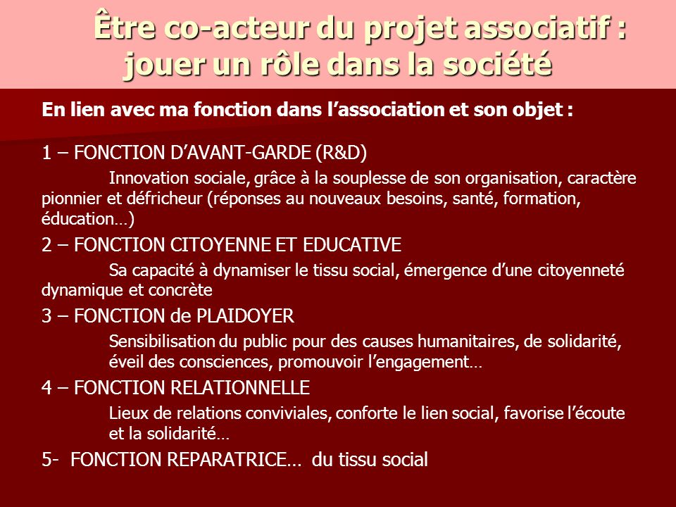 Être co-acteur du projet associatif : jouer un rôle dans la société