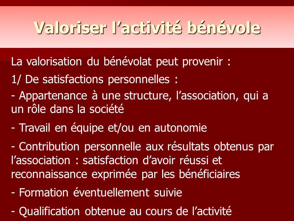 Valoriser l'activité bénévole