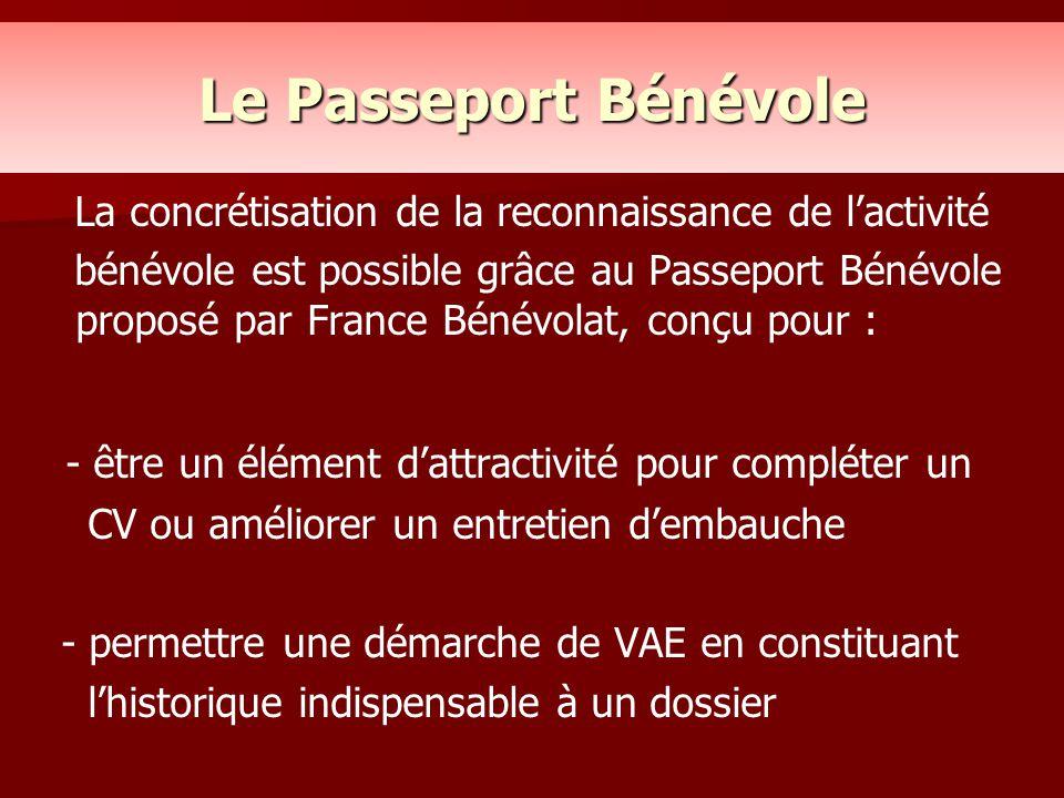 Le Passeport Bénévole La concrétisation de la reconnaissance de l'activité.