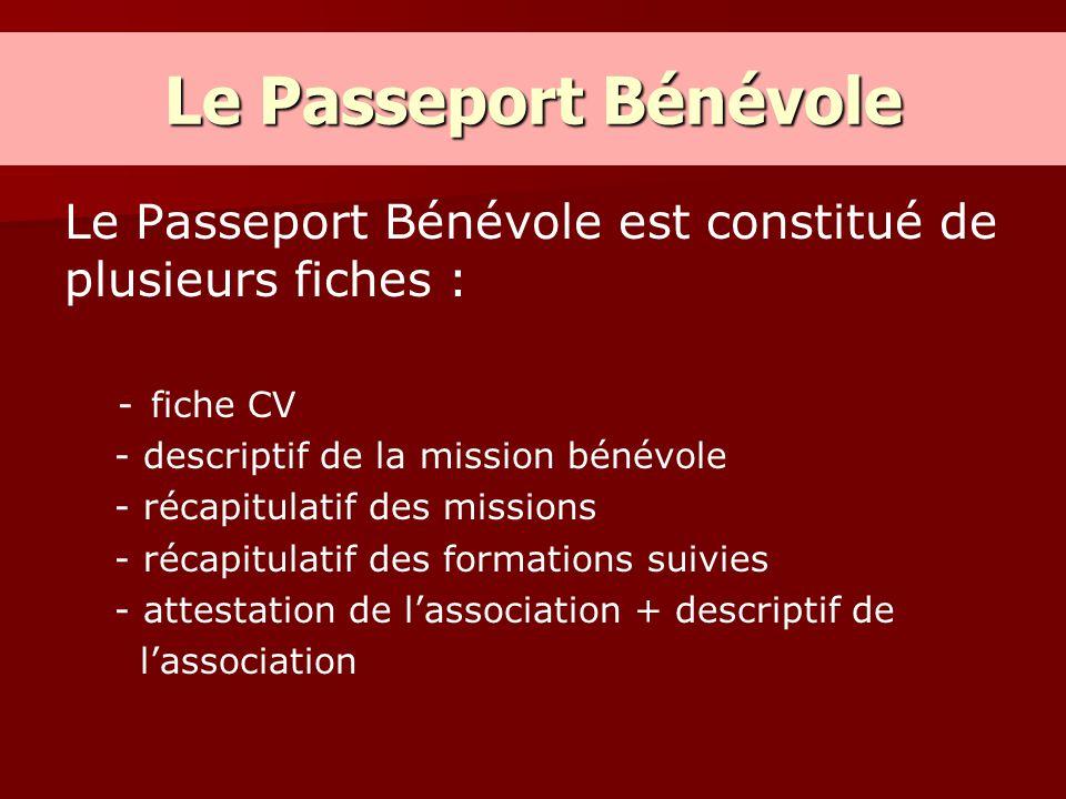 Le Passeport Bénévole Le Passeport Bénévole est constitué de plusieurs fiches : fiche CV. - descriptif de la mission bénévole.