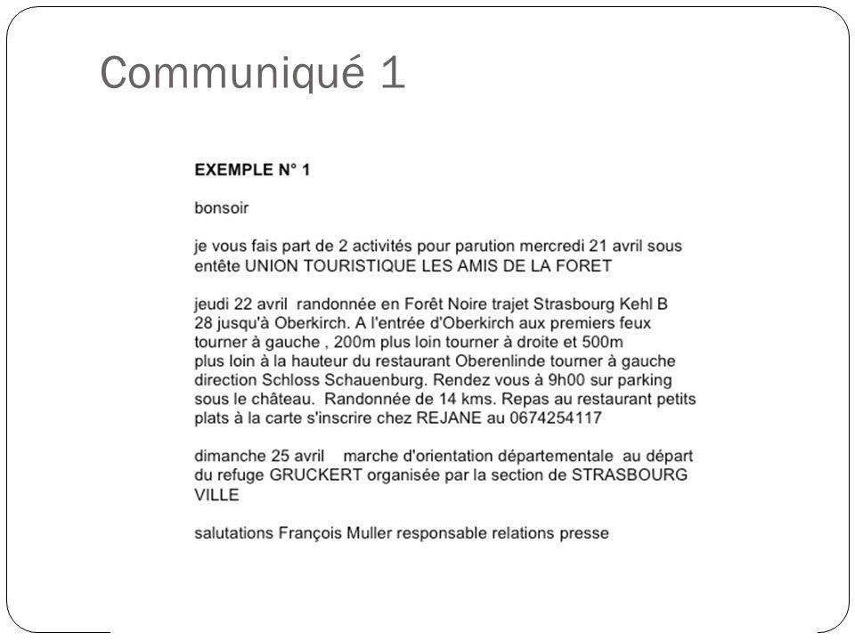 Communiqué 1