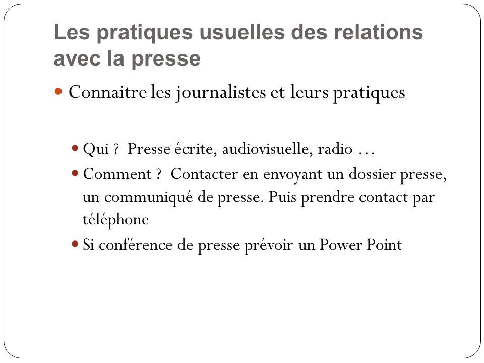 Les pratiques usuelles des relations avec la presse