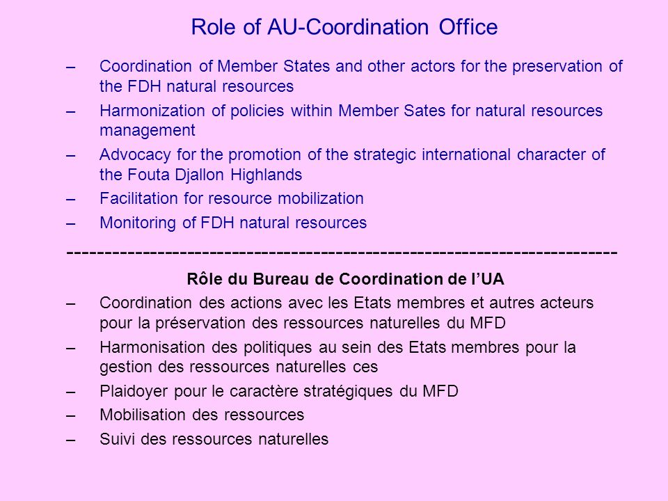 Role of AU-Coordination Office