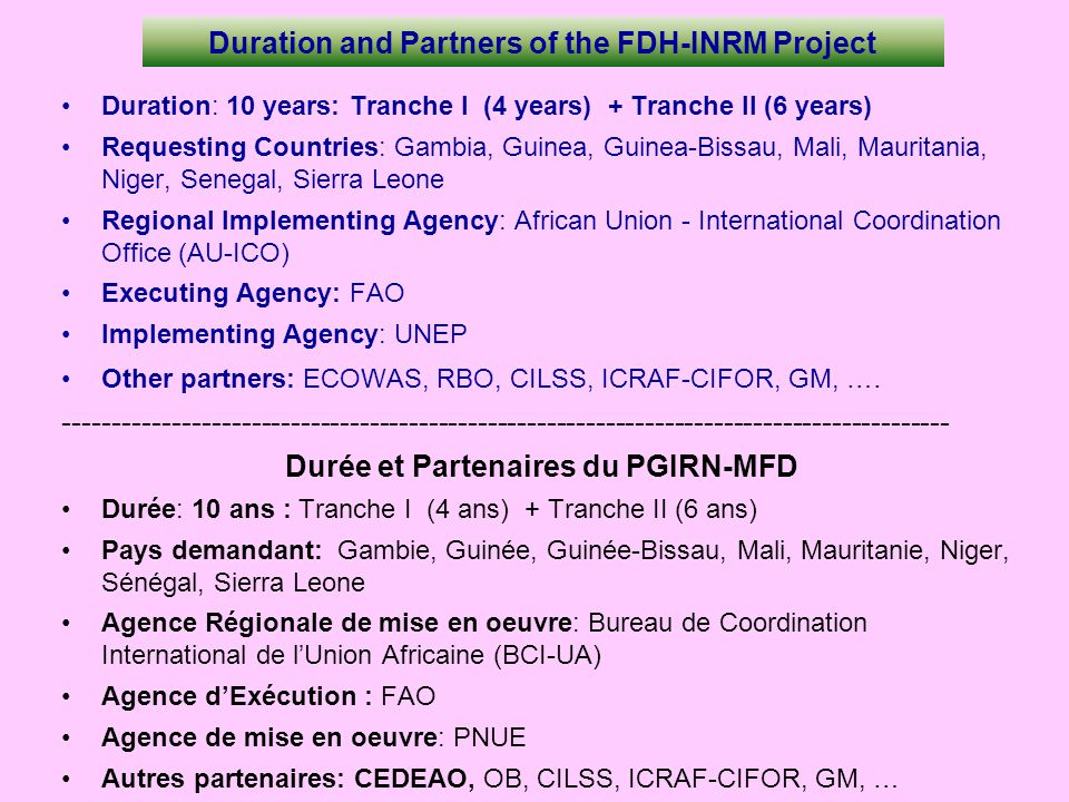 Duration and Partners of the FDH-INRM Project