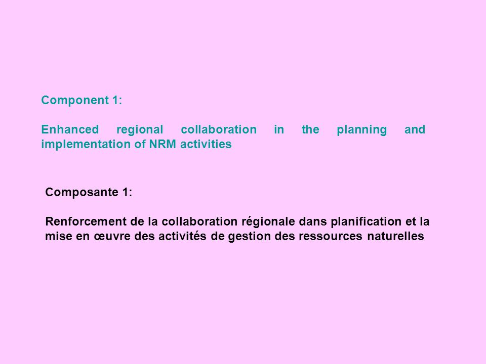 Component 1: Enhanced regional collaboration in the planning and implementation of NRM activities. Composante 1: