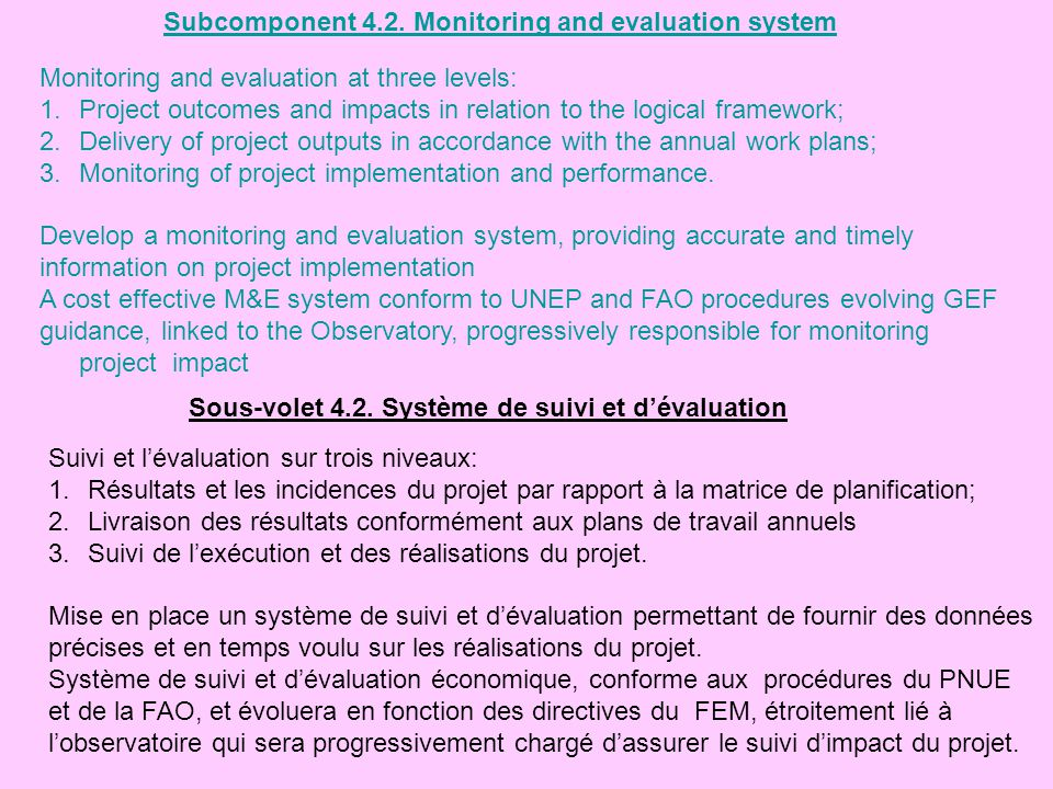Subcomponent 4.2. Monitoring and evaluation system