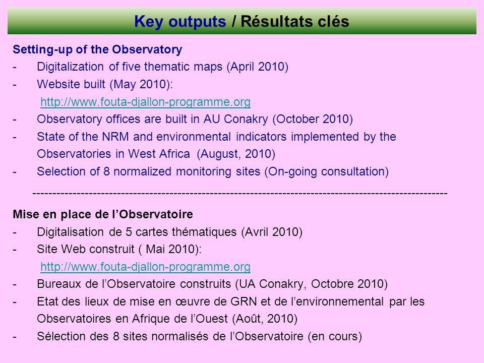 Key outputs / Résultats clés