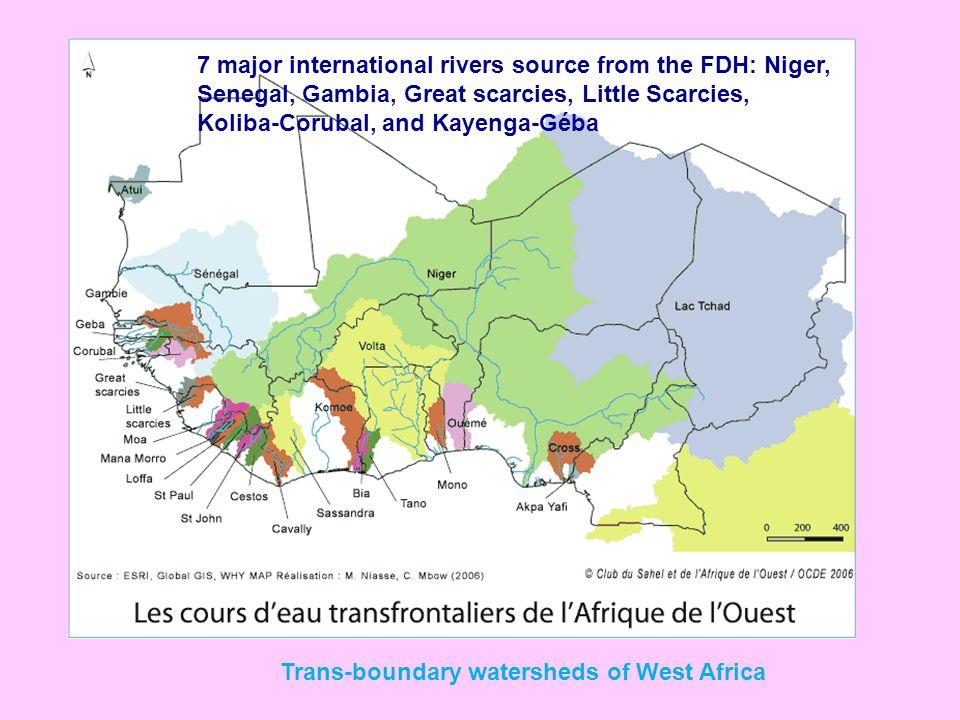 7 major international rivers source from the FDH: Niger, Senegal, Gambia, Great scarcies, Little Scarcies, Koliba-Corubal, and Kayenga-Géba