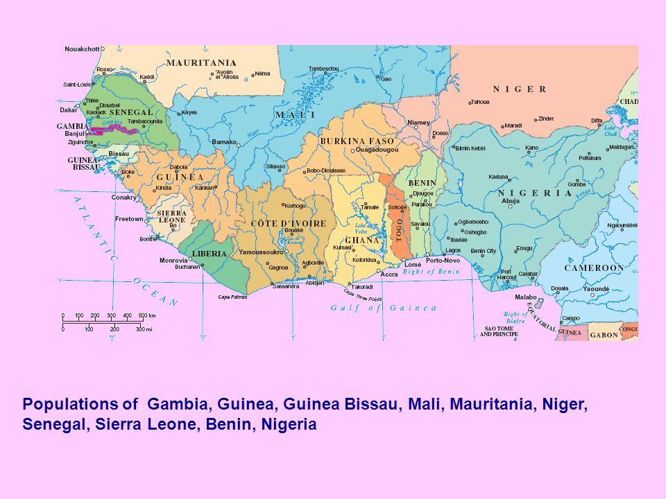 Populations of Gambia, Guinea, Guinea Bissau, Mali, Mauritania, Niger,
