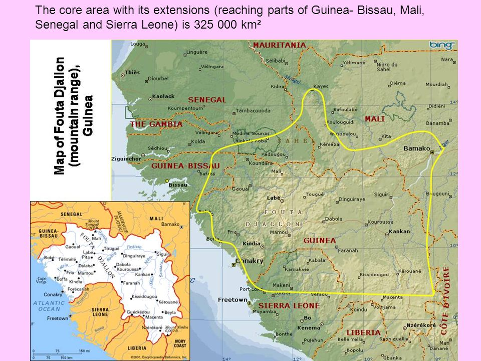The core area with its extensions (reaching parts of Guinea- Bissau, Mali, Senegal and Sierra Leone) is 325 000 km²