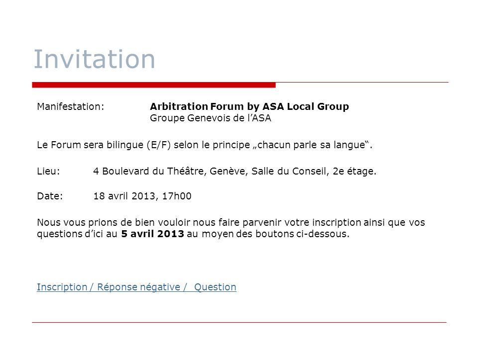 Invitation Manifestation: Arbitration Forum by ASA Local Group Groupe Genevois de l'ASA.