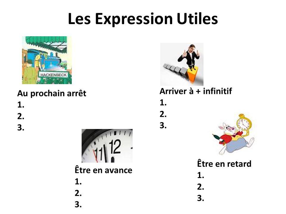 Les Expression Utiles Arriver à + infinitif Au prochain arrêt 1. 1. 2.