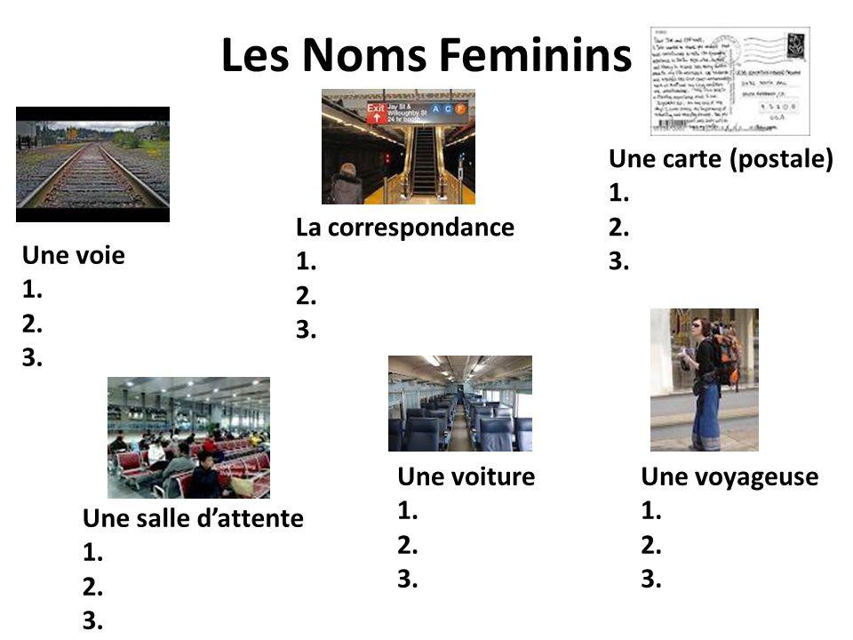 Les Noms Feminins Une carte (postale) 1. 2. 3. La correspondance 1. 2.