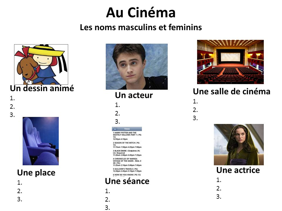 Au Cinéma Les noms masculins et feminins