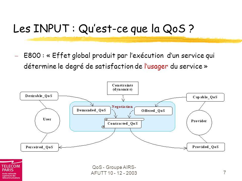 Les INPUT : Qu'est-ce que la QoS