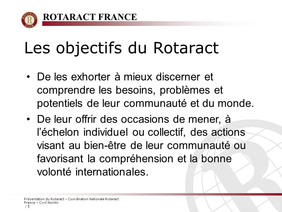 Les objectifs du Rotaract