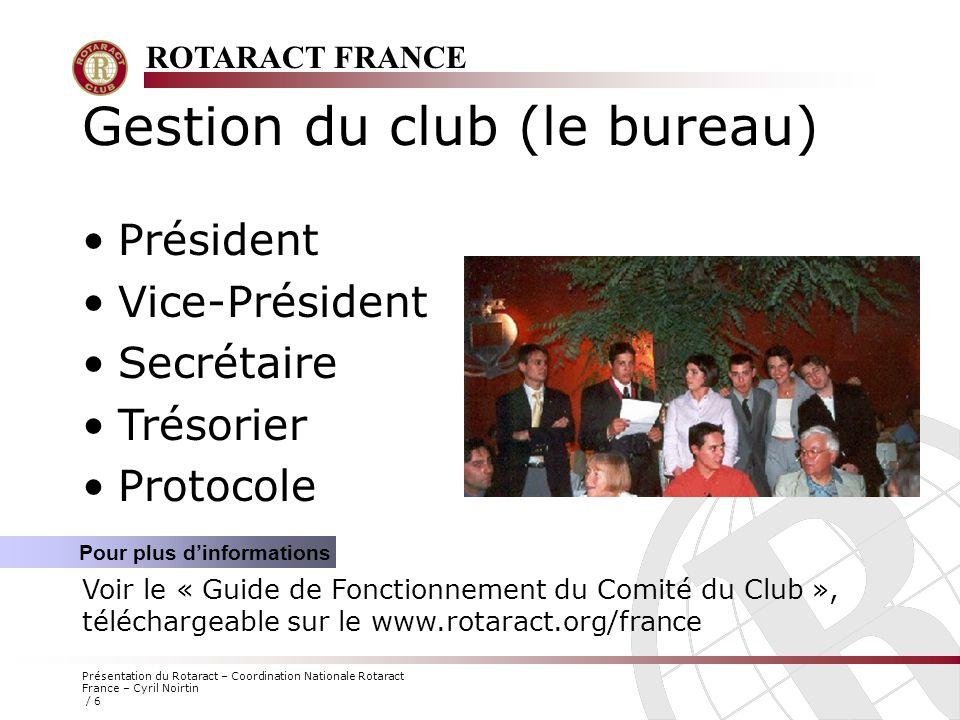 Gestion du club (le bureau)