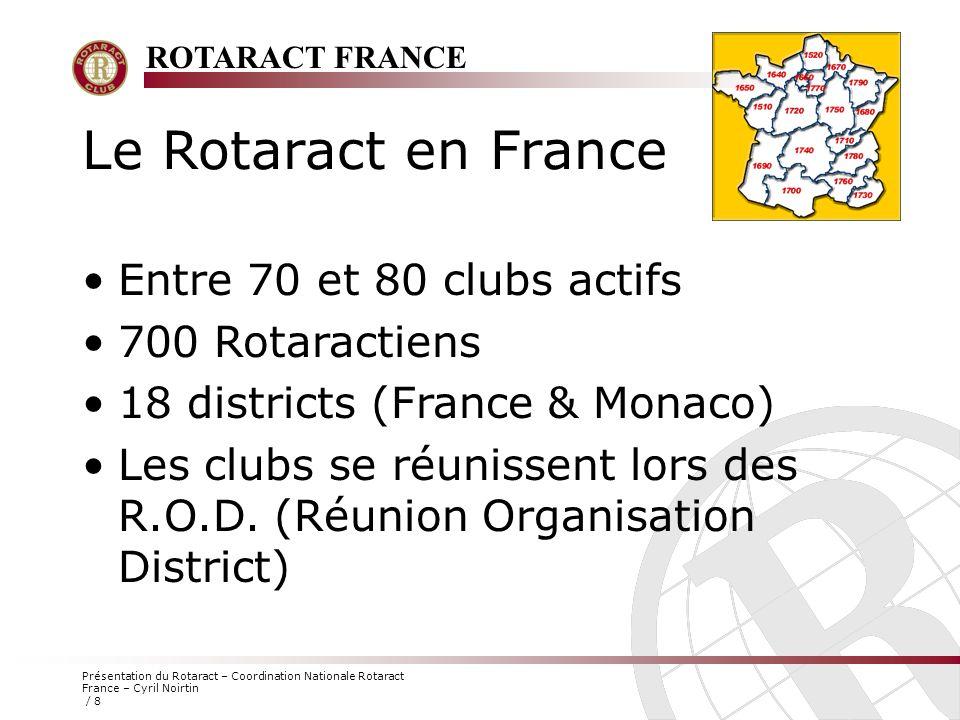 Le Rotaract en France Entre 70 et 80 clubs actifs 700 Rotaractiens