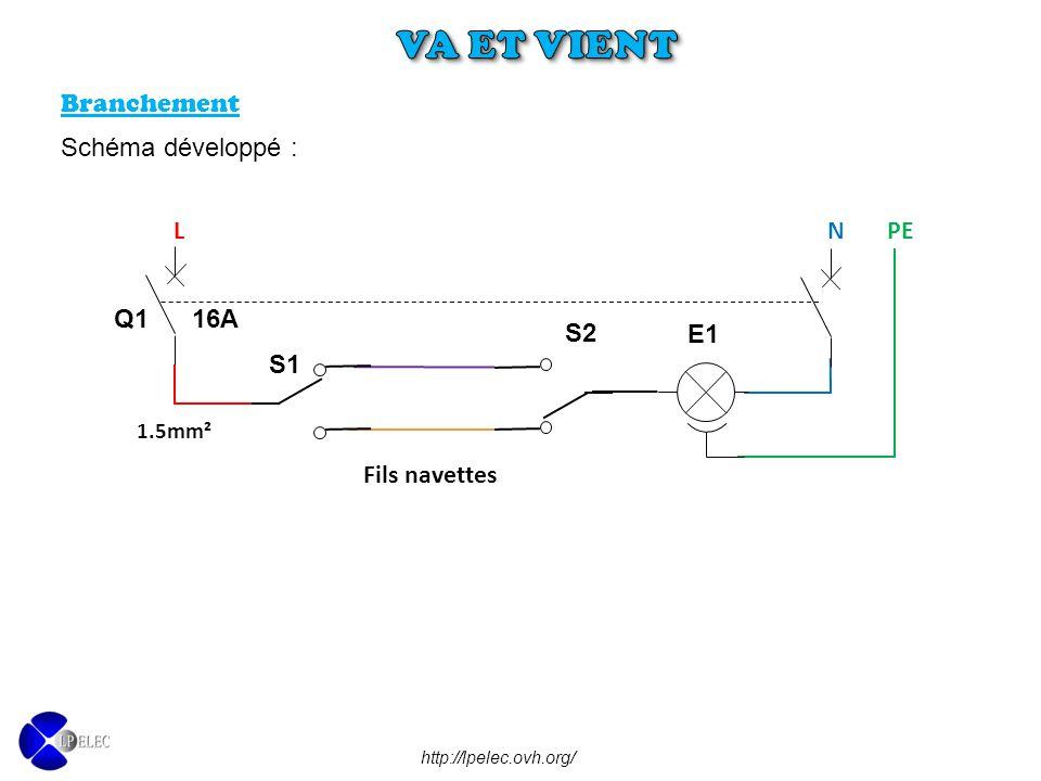VA ET VIENT Branchement Schéma développé : L N PE Q1 16A E1 S2 S1