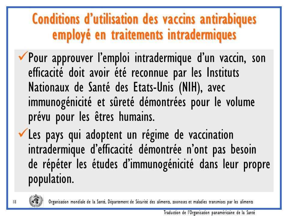 Conditions d'utilisation des vaccins antirabiques employé en traitements intradermiques