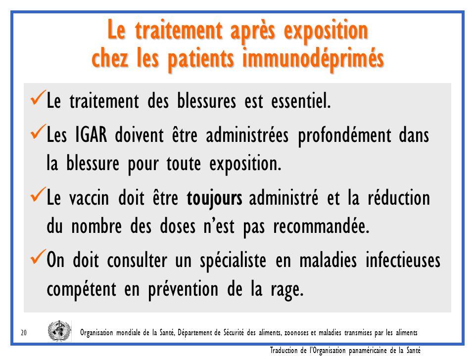 Le traitement après exposition chez les patients immunodéprimés