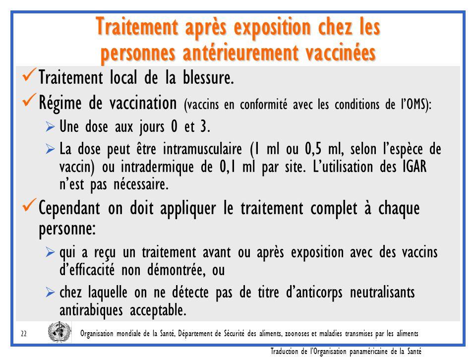 Traitement après exposition chez les personnes antérieurement vaccinées