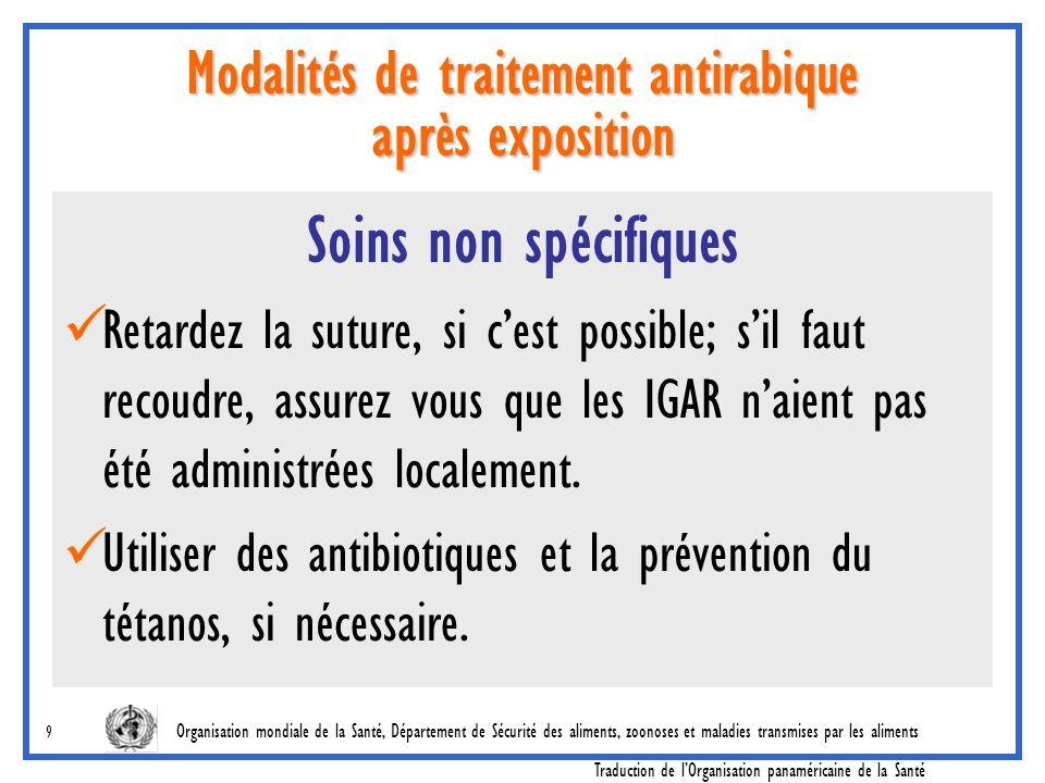 Modalités de traitement antirabique après exposition