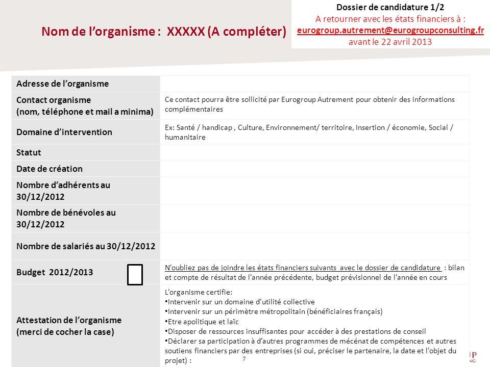 Nom de l'organisme : XXXXX (A compléter)