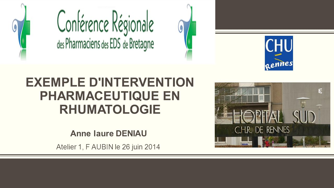exemple d intervention pharmaceutique en rhumatologie