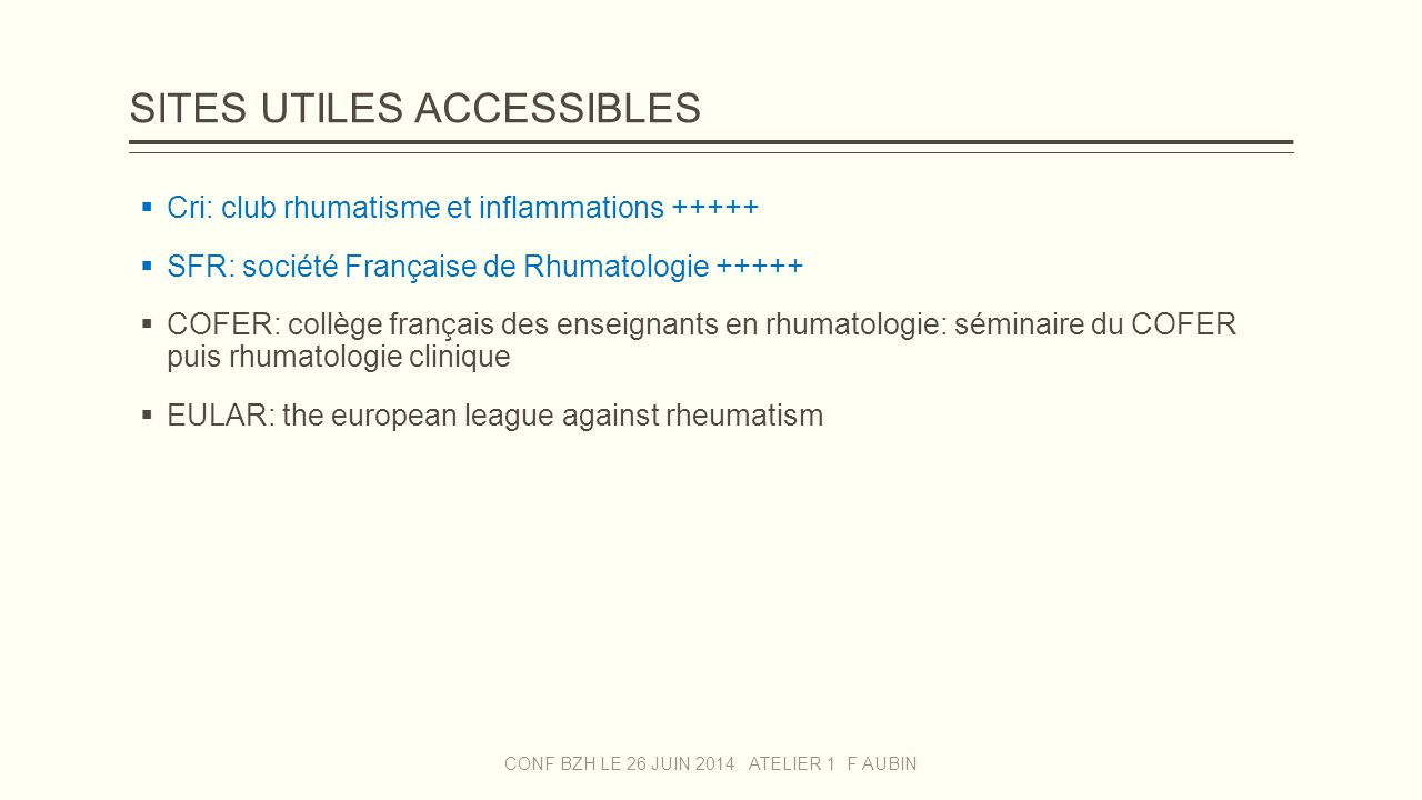 SITES UTILES ACCESSIBLES