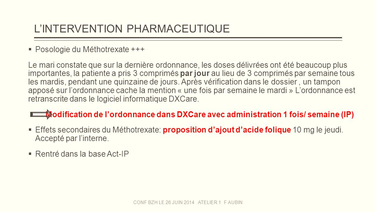 L'INTERVENTION PHARMACEUTIQUE