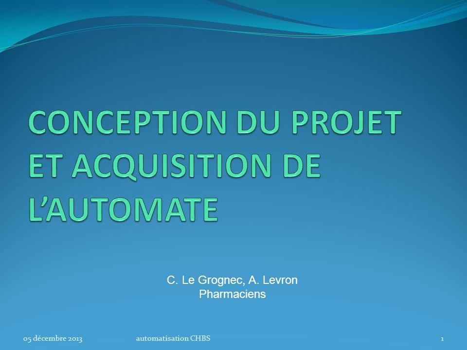 CONCEPTION DU PROJET ET ACQUISITION DE L'AUTOMATE