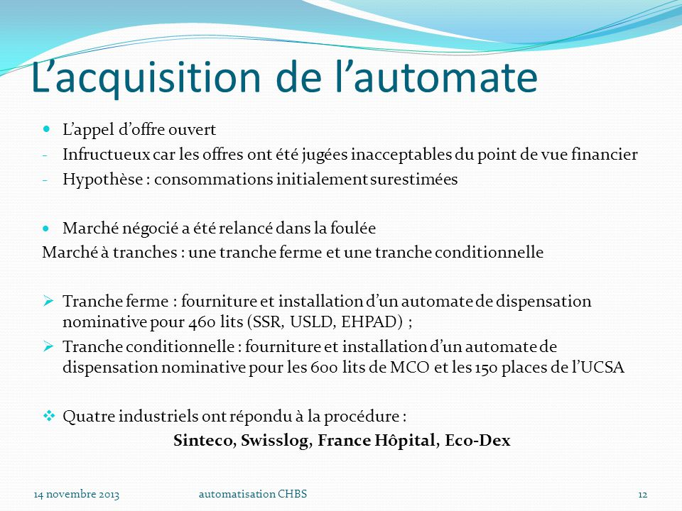 L'acquisition de l'automate
