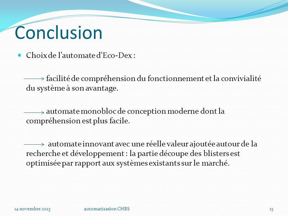 Conclusion Choix de l'automate d'Eco-Dex :
