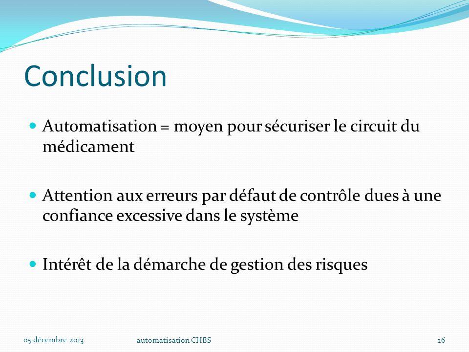 Conclusion Automatisation = moyen pour sécuriser le circuit du médicament.