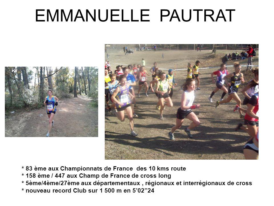 EMMANUELLE PAUTRAT * 83 ème aux Championnats de France des 10 kms route. * 158 ème / 447 aux Champ de France de cross long.
