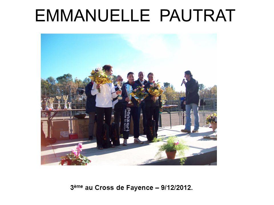 EMMANUELLE PAUTRAT 3ème au Cross de Fayence – 9/12/2012.