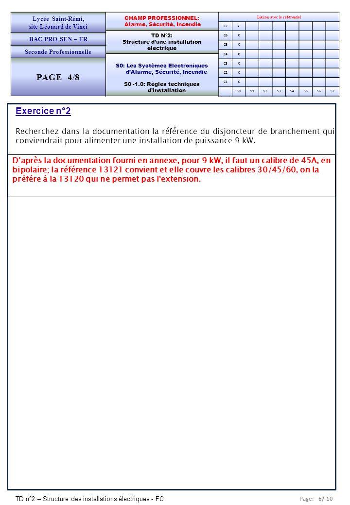 Lycée Saint-Rémi, site Léonard de Vinci. BAC PRO SEN – TR. Seconde Professionnelle. PAGE 4/8.