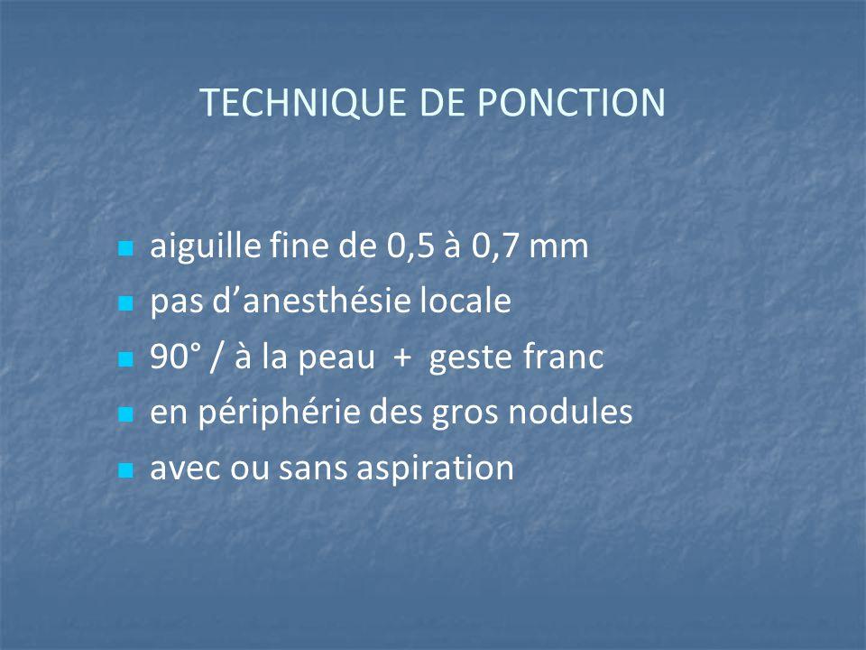 TECHNIQUE DE PONCTION aiguille fine de 0,5 à 0,7 mm