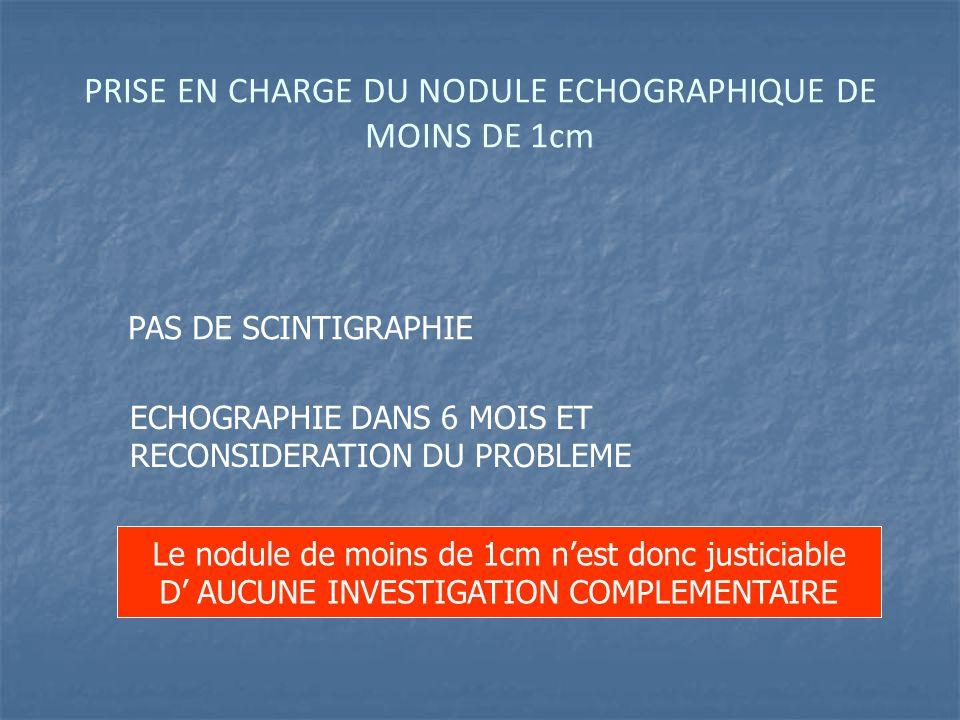 PRISE EN CHARGE DU NODULE ECHOGRAPHIQUE DE MOINS DE 1cm